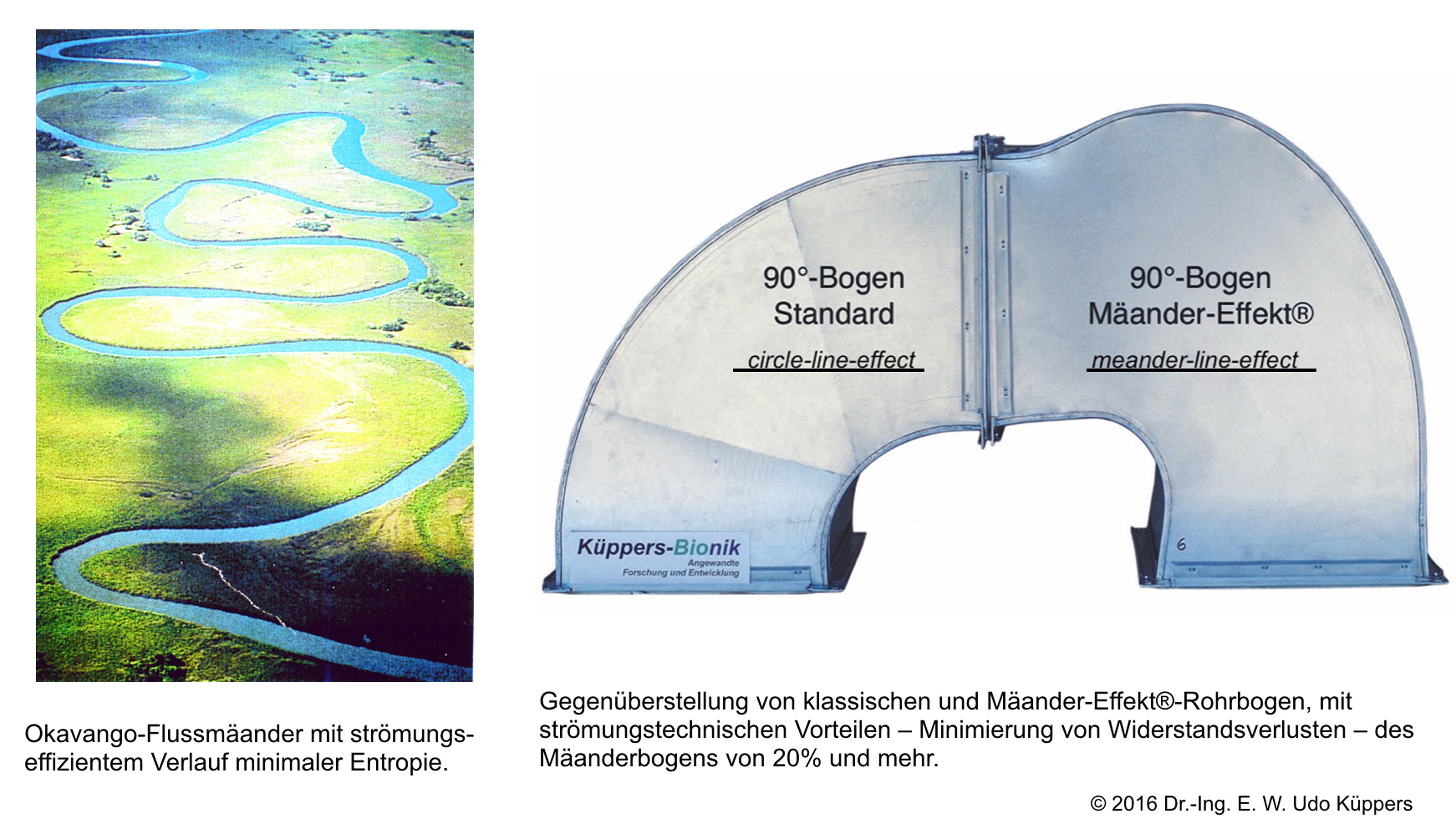 Abbildung 6: Die Dynamik und Effizienz frei mäandrierender Fließgewässer hilft technischen Rohrsystemen zu Konstruktionen hoher Transporteffizienz und verlustarmen Strömungsprozessen